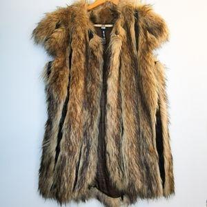 Design Lab Lord & Taylor Faux Fur Vest Size S